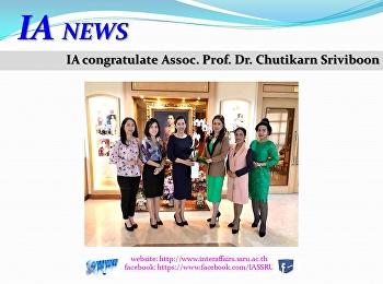 IA congratulate Assoc. Prof. Dr. Chutikarn Sriviboon